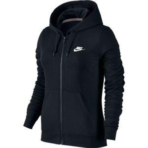 Details about NWT Nike Womens Sportswear Full Zip Fleece Hoodie 803638 010 Black
