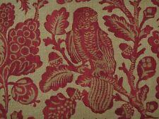 "GP & J BAKER CURTAIN FABRIC DESIGN ""Owls & Fruit"" 6 METRES  RED/SAND 100% LINEN"