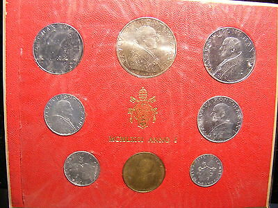 Vatican 1970 Mint Set of 8 Coins,With Silver Coin,UNC