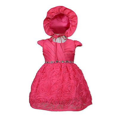 Baby Christening Party Dress with Bonnet in Red Pink Ivory 0 3 6 12 18 24 Months