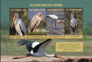 Gambia-2019-estampillada-sin-montar-o-nunca-montada-Amarillo-Facturado-ciguena-4v-m-s-ciguenas-aves