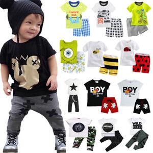 2-teilig Kleinkind Kinder Baby Jungen Sommer Kleidung T-Shirt Oberteile+Hose