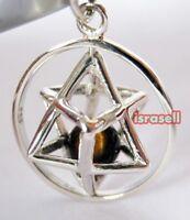 925 Sterling Silver Kabbalah Merkaba Pendant With Tiger Eye - Merkabah Chariot