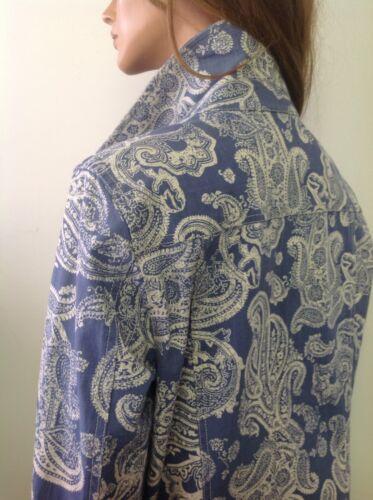 Barrow Jeans Designer Paisley 14 Jacket Sz Stretch Denim Croft Fashion Hip Fashion tBdqB