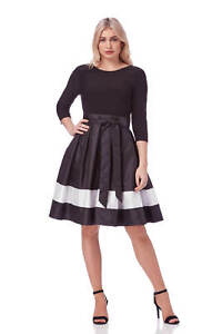 Roman Originals Ladies Contrast Panel Dress Black