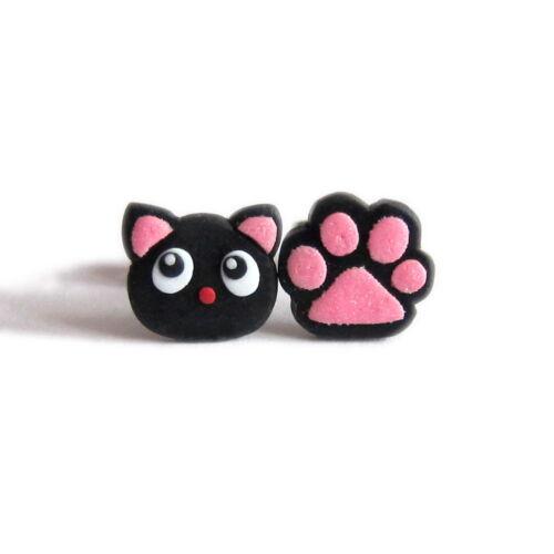 Pata de Gato Negras no coincidentes día de San Valentín regalos para niños Joyería Pendientes con Pasador Emo