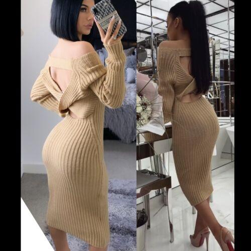 Les femmes Twist Back Cut Out Côtelé à manches longues près du corps Extensible Robe Tricot