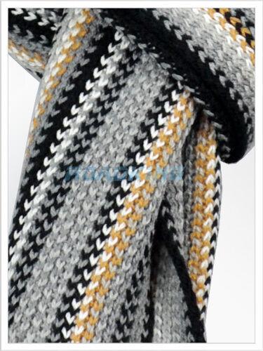 grigio e oro Da Uomo /& Donna Morbido Caldo Inverno Sciarpa a righea Lungo Nappa nero