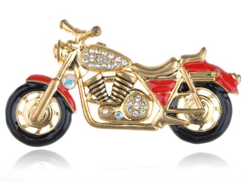 Nuevo Cristal Harley Davidson Motociclista Motocicleta Rojo Negro Esmalte Pin Broche De Joyería