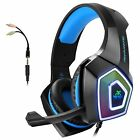 Arkartech V1 Gaming Headset with Mic and 7 Color LED Lights - Black/Blue
