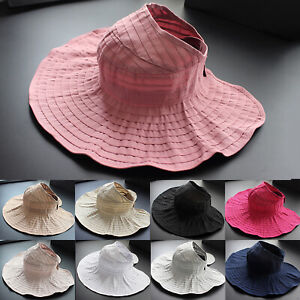 a110e04a1fc Womens Sun Hat Summer Foldable Wide Brim Solid Visor Outdoor Beach ...