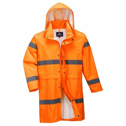 Mens Portwest Hi Vis Work Wear  Waterproof Hooded Long Rain Coat Jacket H442