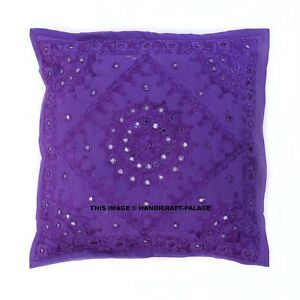 Purple Mirror Work Embroidered Pillow Cover 16 Indian Decorative