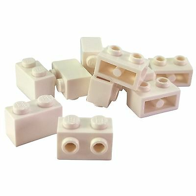 Lego 10 New White Brick Modified 1 x 2 Studs on 1 Side Pieces