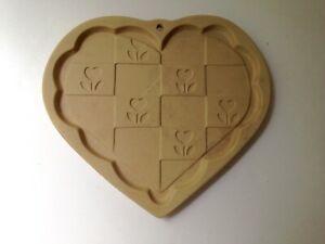 SFS-SASSAFRAS-1996-Shortbread-Heart-Floral-Mold-Bakeware-Stoneware-USA
