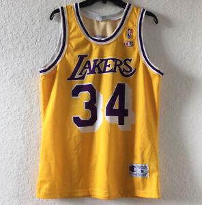 MEN NBA LOS ANGELES LAKERS VINTAGE BASKETBALL JERSEY CHAMPION 34 ...
