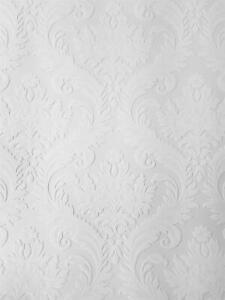 Anaglypta White Paintable Damask Wallpaper Vinyl Wall Ceilings