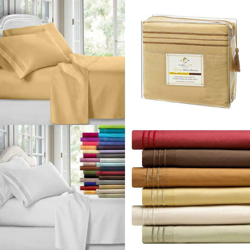 4Pc Bed Sheet Set  King Camel gold Clara Clark Bedroom Cover Mattress Home