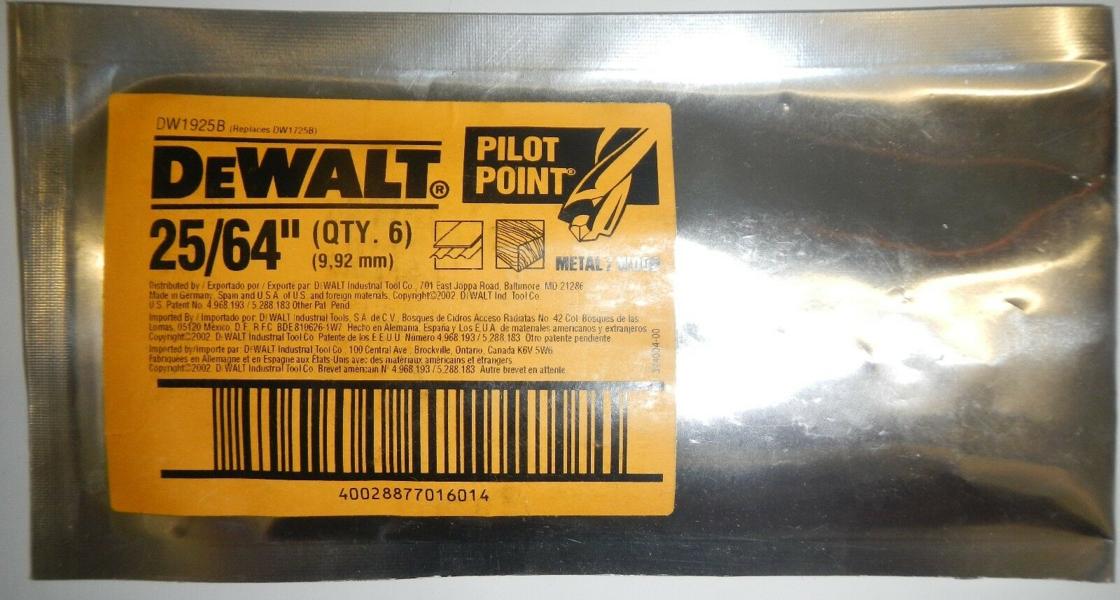 DeWalt DW1925B Pilot Point 25/64 For Metal/Wood Qty. 6