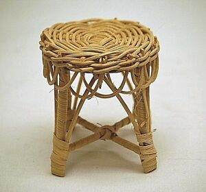 Old Vintage Rustic Wicker End Table Living Room Doll Teddy