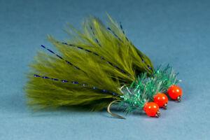 3 x Blue Flash Damsel Olive Marabou Fritz Fly Metallic Blue Hothead Size 12