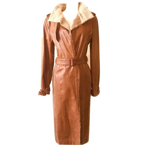 GIANFRANCO FERRE Vintage Signature  Leather Trench