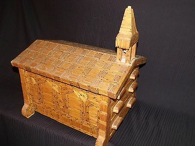 EXTRAORDINARY VINTAGE LARGE PRISON ART MATCHSTICK CHAPEL WITH 3 DRAWERS