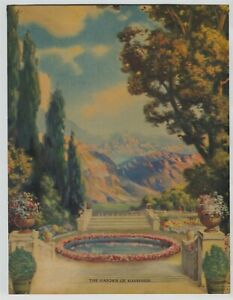 1930-Lovely-Garden-Mountains-backdrop-Print-Titled-The-Garden-Of-Happiness
