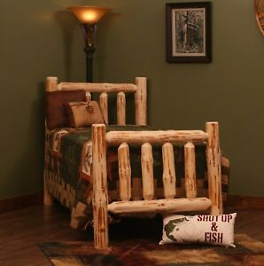 Details about RUSTIC PINE LOG BED Rustic Log Bed for Cabin or Home Rustic  Decor Log Furniture