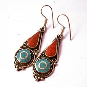 Turquoise-Coral-Earring-Tibetan-Nepalese-Handmade-Ethnic-Tibet-Nepal-ER1207