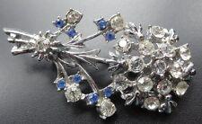 vintage clear & blue rhinestone daisy flower silver tone brooch 1950s -C353