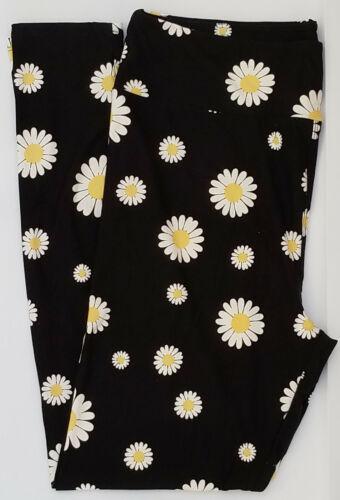 OS LuLaRoe One Size Leggings White Daisy Flowers on Black NWT E22