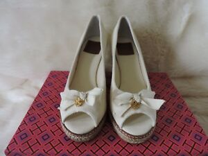 1910c52793e5 NIB  250 TORY BURCH JACKIE 2 85MM WEDGE CANVAS ESPADRILLE IVORY HEEL ...