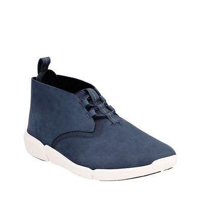 clarks men's triflow mid blue nubuck casual shoes 26126080