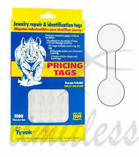 1000 Pcs White Price Round Barbell Labels Dumbbell Tag Sticker Jewelry Price Tag
