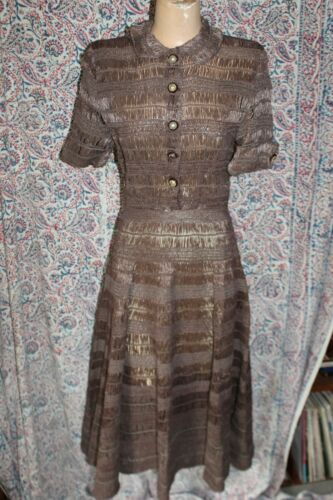 Vintage 1950s 1960s Brown Raffia Dress Full Skirt