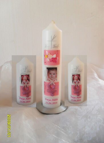 """zur Geburt Mädchen,Junge Taufkerze //Patenkerze mit Foto /""""Schutzengel /""""Schnuller"""