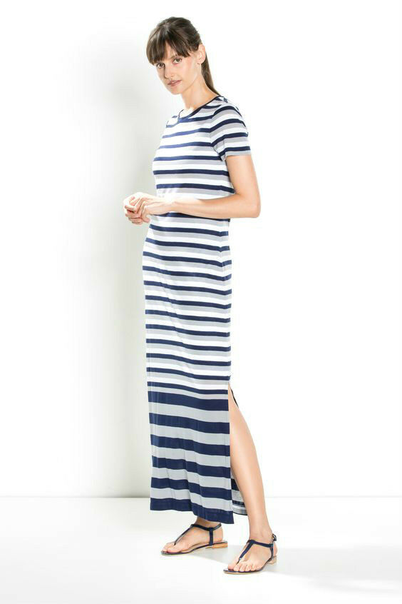 NWT  Designer COUNTRY ROAD Trenery Breton French Stripe Maxi Dress Lyocell
