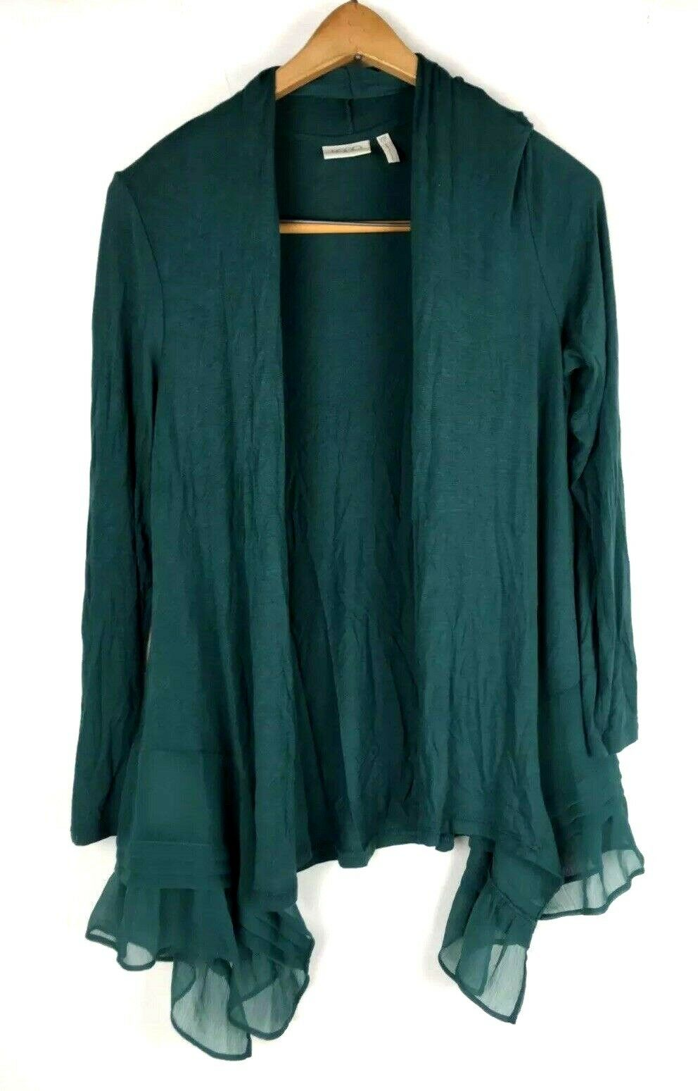 LOGO by Lori goldstein Open Front Cardigan Petite Size XSP Teal bluee Draped