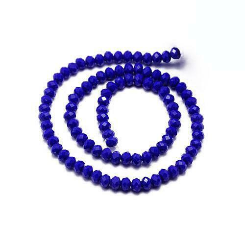 Czech Crystal Opaque Glass Faceted Rondelle Beads 6 x 8mm Dark Blue 70 Pcs