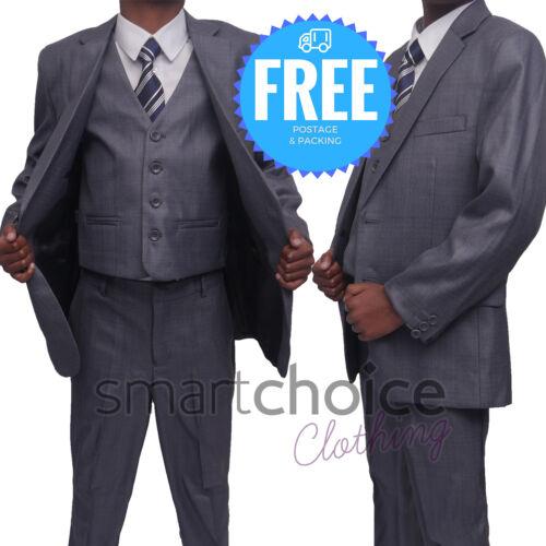 Prom Suit Pageboy Grey Wedding Suit Boys Kids Slim Fit Suit 5 Piece Light