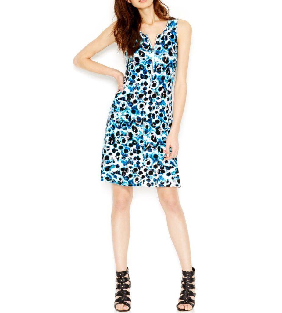 Kensie Dress Sz XS True Blau Combo Animal Print Zip Front Casual Tank Dress