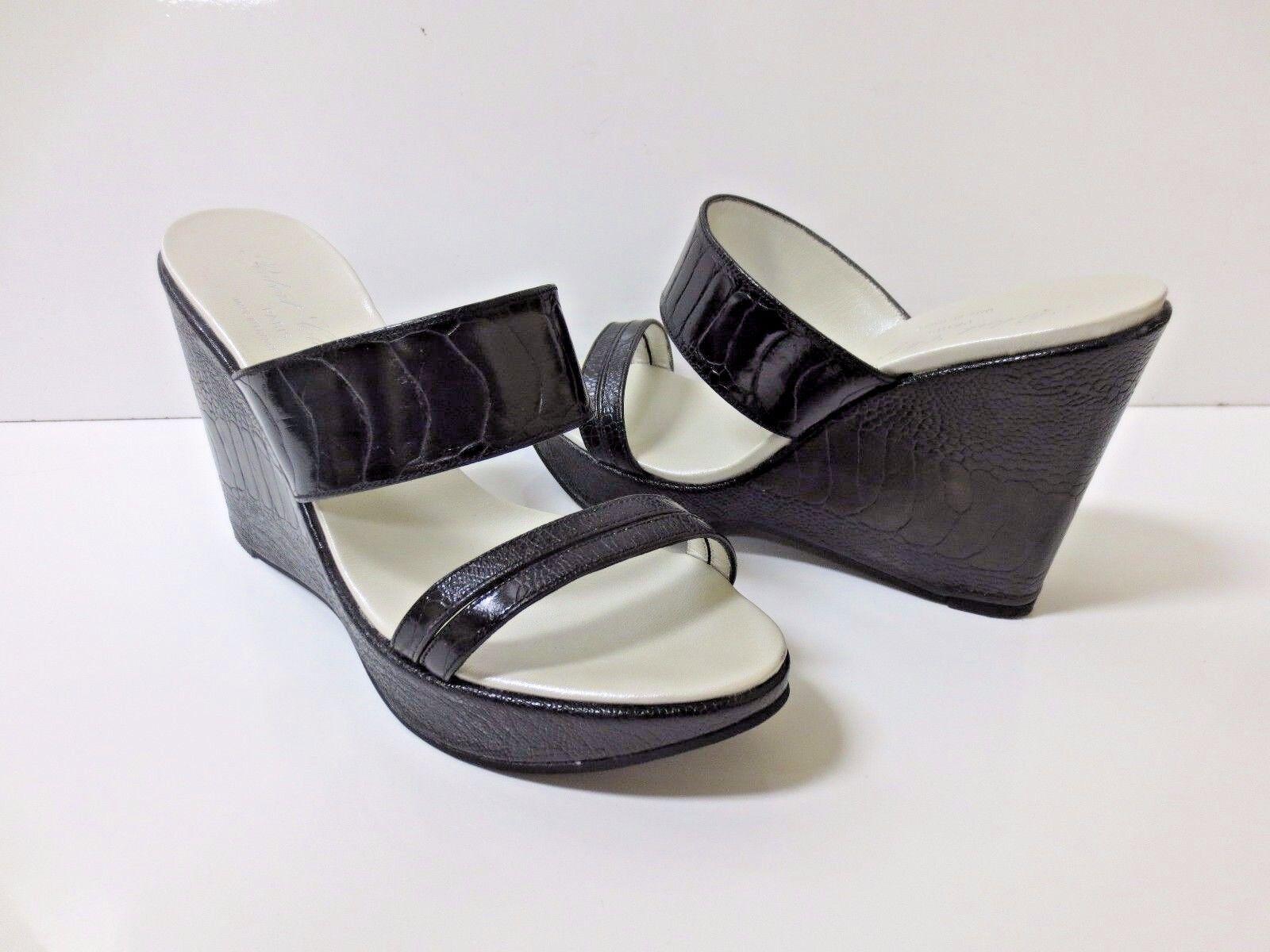 ROBERT CLERGERIE Black Reptile Embossed Leather Double Strap Sandals shoes shoes shoes 7 EUC 01152d