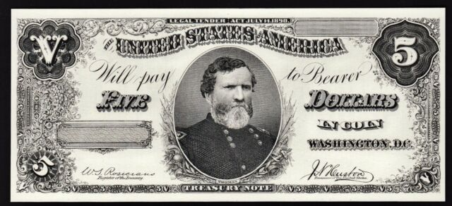 BEP Proof Print or Intaglio - Face of 1890 $5 Treasury Note
