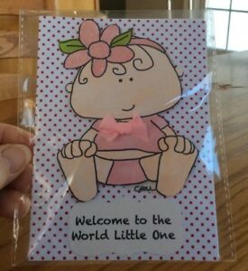 Baby-Girl-Card-Pink-Satin-Bow-On-Her-T-Shirt-Flower-In-Her-Hair-Handmade