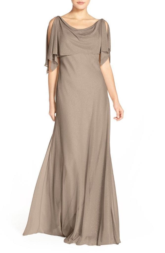 Jenny Yoo Devon Glitter Knight Gown med den identifierbara Capelet - Storlek 14 (F)