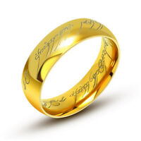 Lord Of The Rings The One Ring Power Hobbit Gold Plated 6mm Lotr Stainless Steel