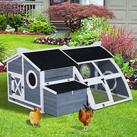 Pawhut Chicken Coop Rabbit Hutch Outdoor Backyard Wood Cage W/run &nesting Box