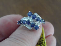 Platinum/ss 2.52tgw Genuine Kanchanaburi Blue Sapphire, Diamond Ring Size 7