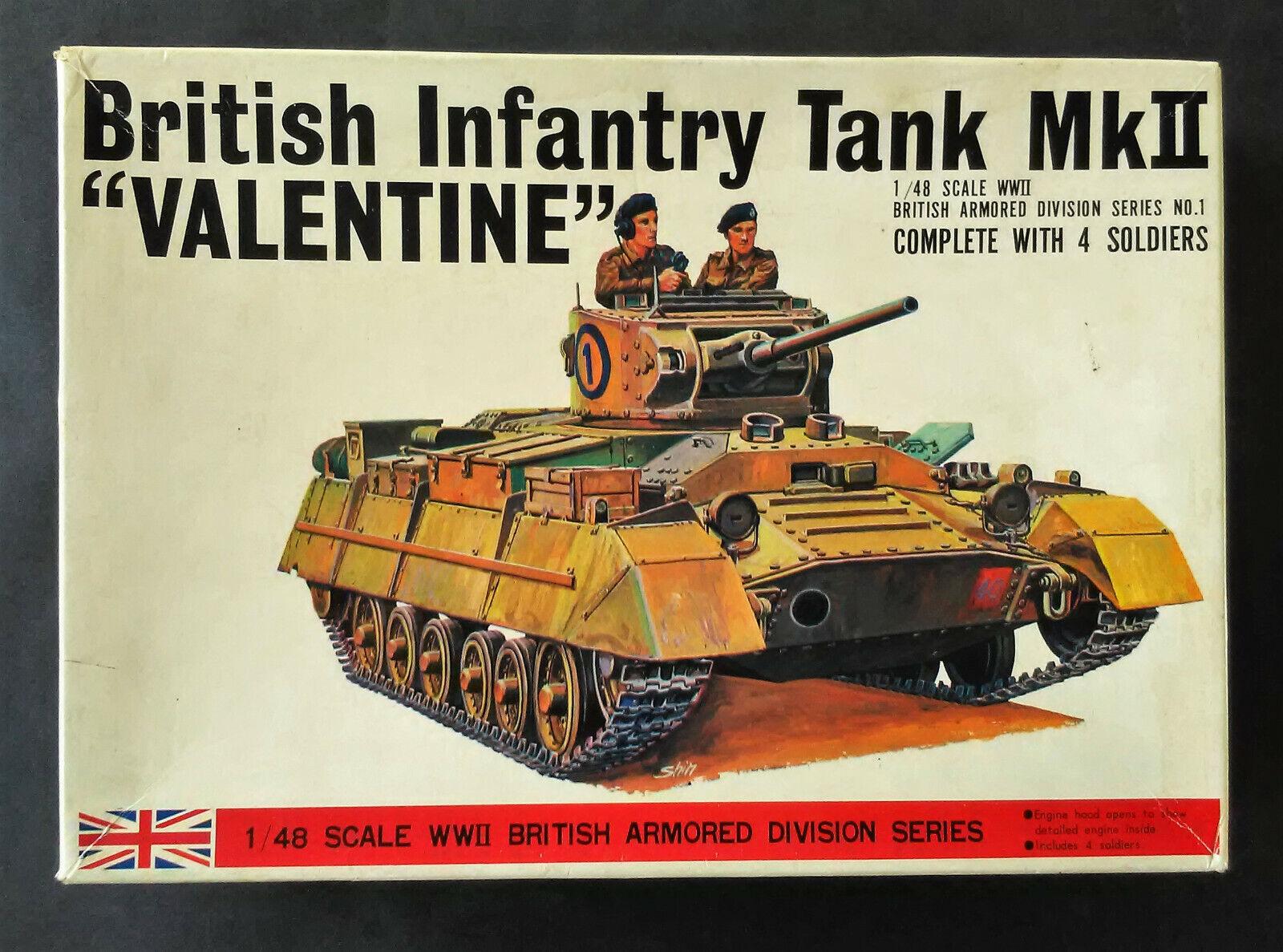 Vintage Bandai Japan British Infantry MKIII Valentine 1 48 Model Tank Kit  #8364